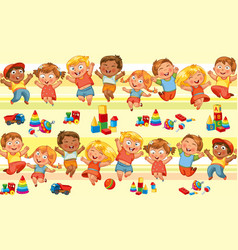 happy jumping kids holding hands vector image vector image