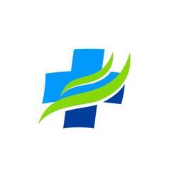 Hospital cross sign wave logo vector
