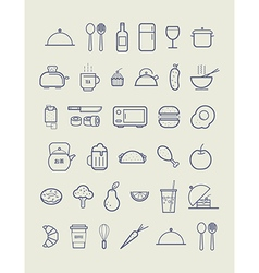 Kitchen icons for cafe menu restaurant vector image vector image