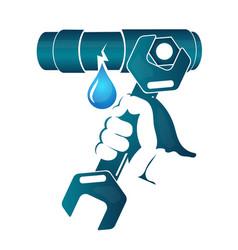 repair of water pipe vector image