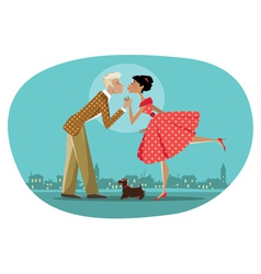 Romantic retro couple kissing vector image vector image
