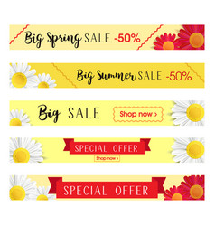 Set of abstract web banner templates with floral vector