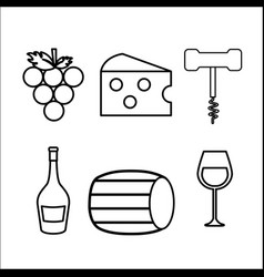 Take out cork grape cheese glass and bottle vector