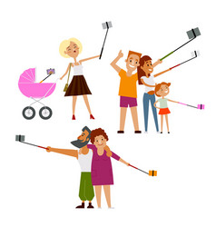 young mother couple and family all making selfie vector image vector image