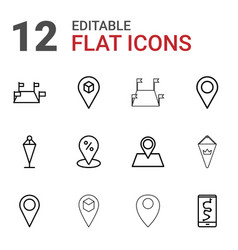 12 gps icons vector image