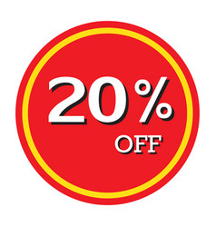 20 off discount price tag isolated vector