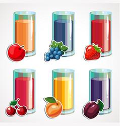 A cartoon set fruit juices vector