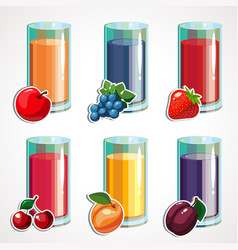 a cartoon set of fruit juices vector image