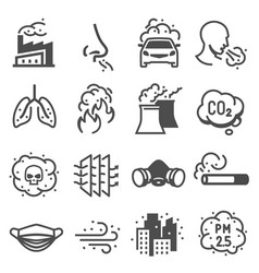 Air pollution control engineering icons vector