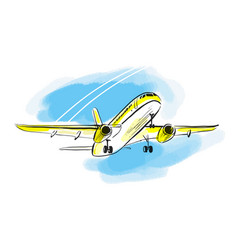 airplane sketch in blue sky aircraft in vector image