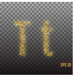 Alphabet gold letter t on transparent background vector