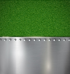 Background grass and polished metal vector