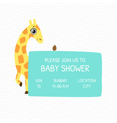 bashower invitation template card with cute vector image