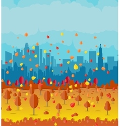 Beautiful autumn city with park alley vector image