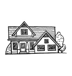 Black and white sketch of a cottage vector