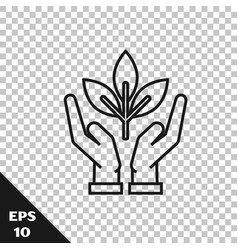 Black line plant in hand environmental vector