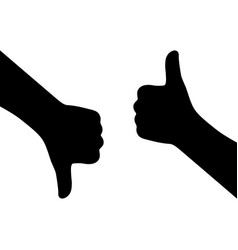 black silhouette of like and dislike gesture vector image
