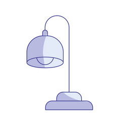 Blue shading silhouette of desk lamp vector