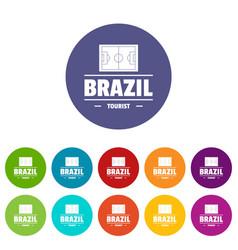 brazil tourist icons set color vector image