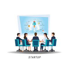 business startup with business people vector image