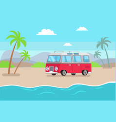 car and seaside composition vector image