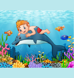 Cartoon boy with dolphin swimming vector