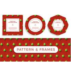 christmas covid19 seamless pattern and frame set vector image