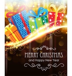 Christmas presents on holiday background vector image