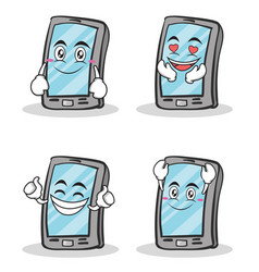 Collection of smartphone cartoon character set vector