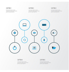 computer colorful icons set collection of vector image