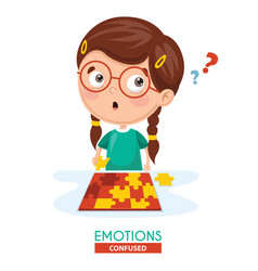 Confused kid emotion vector