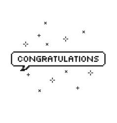 Congratulations in speech bubble 8 bit pixel art vector