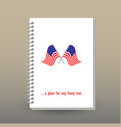 Cover of diary or notebook with american flags vector