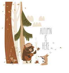 cute fox with bear sitting bonfire in autumn vector image