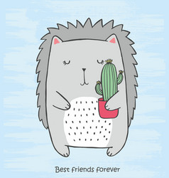Cute monochrome crew cut with cactus in his hands vector