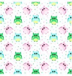 cute sad pink blue green colored owls vector image