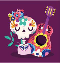 day dead skeleton with guitar and flowers vector image