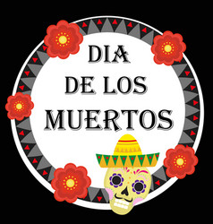Day of the dead mexican holiday greeting card vector