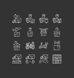 delivery chalk icons set express goods shipping vector image