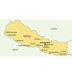Democratic Republic of Nepal - map vector image