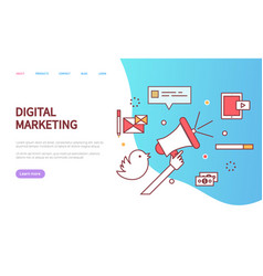 digital marketing website message icons vector image