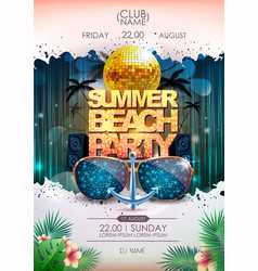 Disco background disco ball summer beach party vector
