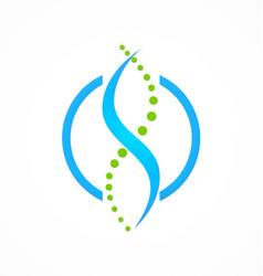 dna circle science logo vector image