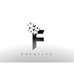 f logo letter with flock of birds flying and vector image
