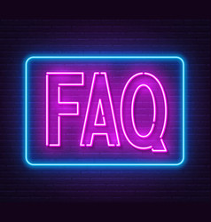 Faq frequently asked questions neon sign on brick vector
