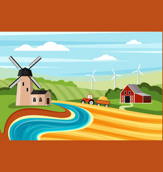 farm summer landscape with mill vector image