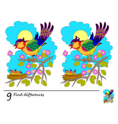 Find 9 differences logic puzzle game for children vector