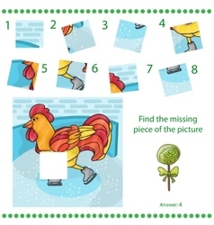 Find missing piece - Puzzle game Rooster vector image