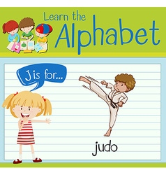 Flashcard letter J is for judo vector