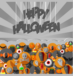 flat halloween icons in background gray vector image